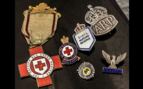 Collection of WWII and Red Cross Badges,