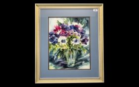 Helen Schofield Water Colour depicting a vase of Anemones in rich colours. Mounted and framed behind