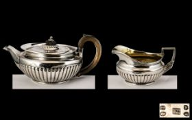 George III Sterling Silver Teapot and Milk Jug. Hallmark London 1806, Makers Mark W.B & R.