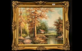 Pair of Autumnal Scene Paintings, depicting trees and rivers in seasonal colours.