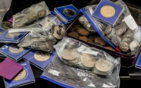 Small Box Containing a Quantity of Low Value Coins, to include modern Crowns, 3d, copper, pennies,