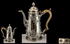 George II Silver Coffee Pot, Makers Mark For Aymé Videau c1740,