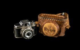 Miniature Spy Camera in Original Brown Leather Case; Mycro -Patents, Made in Japan, Sanwa Co.Ltd.