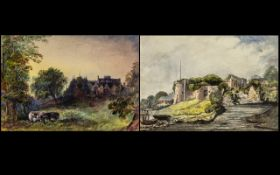 English School 19th Century - A Pair of Watercolour Drawings - Ruskin Style A Gothic ruin of a