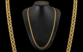 Antique Period Superior Quality 9ct Gold Muff Chain - Triple Link Design, Marked 9ct.
