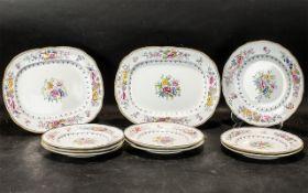 Collection of Handpainted Victorian Plates, decorative designs including deutsche blumen,