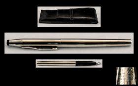 Cross - Modern Slim line Elegant Sterling Silver Cased Ballpoint Pen,