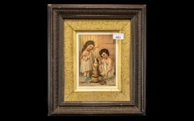 Small Coloured Victorian Print of Children Playing with a small dog sitting on a toy drum,