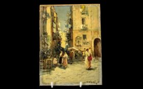 Italian Oil Painting on a Wood Panel, depicting a Naples street scene,