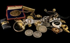 Mixed Lot of Costume Jewellery and Collectibles including seven ladies fashion watches,