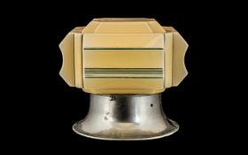 Art Deco Glass Ceiling Shade of square form, decorated with painted green lines,