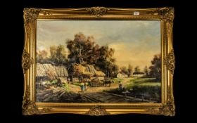 Large Oil on Canvas Painting of a Country Farm scene, framed in a decorative gilt frame,