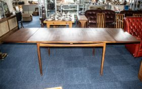 G Plan Danish Extending Teak Table with sliding supports at ends to hold two leaves,