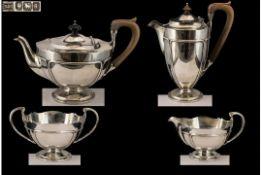 Art Nouveau Design Superb Quality Sterling Silver ( 4 ) Piece Tea Service.
