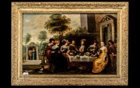 Christopher Jacobsz Van Der Lamen, Brussels, 1606-1651 Antwerp 17th Century Oil on Panel. Elegant