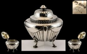 Late Victorian Period - Superb Quality Sterling Silver Hinged Tea Caddy, Wonderful Design and Form,