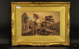 Large Copy of a David Cox Watercolour, depicting a country scene, framed in an ornate gilt frame