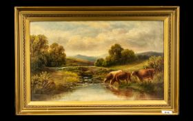 Henry Harris Oil Painting on Canvas, Depicting Cattle Drinking on the River Bank,