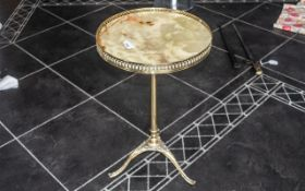 Small Italian Ormolu Onyx Topped Side Table on tripod base,