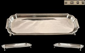 1930's Superb Quality - Heavy Sterling Silver Elongated Rectangular Pen / Trinket Tray,