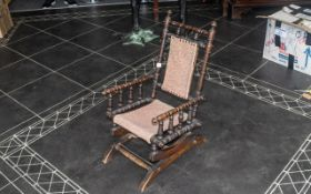 Child's Victorian Oak Rocking Chair, with tapestry fabric seat and back with studded trim, two