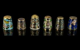 Antique Period - A Small Collection of Gilt and Cloisonne / Enamel Thimbles ( 6 ) In Total.