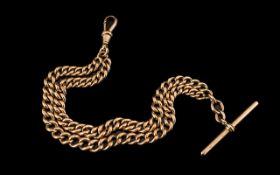Antique Period - Superb Quality 9ct Rose Gold Double Albert Watch Bracelet,
