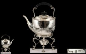 George VI Superb Quality Sterling Silver Spirit Kettle and Stand of Pleasing Proportions.