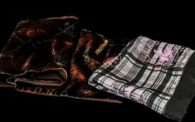 Two Burberry Scarves, comprising a silk plaid scarf in grey shades with pink logos,
