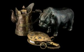 Collection of Oriental Items, comprising a Tibetan copper Jug with lid,