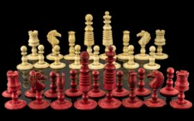 Antique Bone Chess Set, attractive, well carved set,