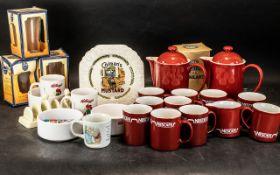 Collection of Advertising Memorabilia, comprising: 9 Red Nescafe Mugs, 2 Nescafe Coffee Pots,