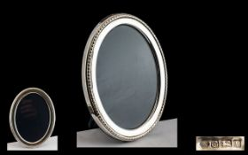 Queen Elizabeth II Oval Shaped Sterling Silver Photo Frame - For Desk on Table.