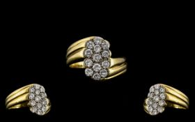 18ct Gold - Superb and Attractive Pave Diamond Set Ring. Full Hallmark for 750 - 18ct.