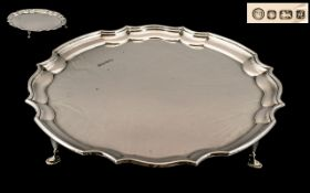 Elizabeth II Excellent Quality and Solid Circular Sterling Silver Footed Tray Salver,