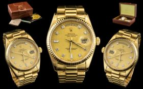 Rolex - 18ct Gold Gents Oyster Perpetual Diamond Dial Chronometer Wrist Watch,