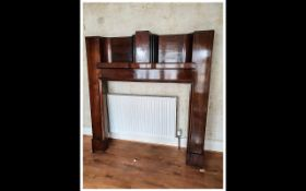Art Deco Mahogany Fireplace Surround with a Top Shelve In Traditional Deco Shape. 61 Inches High &