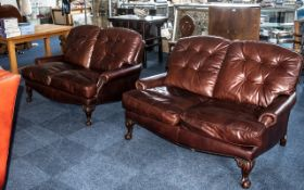 Two High Quality Tetrad Tan / Brown Coloured Leather Matching Button Back Two Seater Armchairs, Made