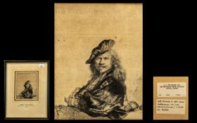 Antique Etching ( Rembrandt Harmensz Van Rijn ) Self Portrait. Leaning on a Stone Sill, Dated 1639.
