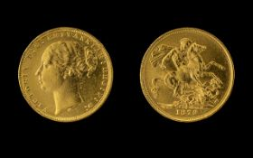Queen Victoria - Young Head 22ct Gold Full Sovereign - Date 1879.