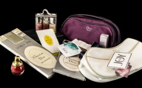 Christian Dior Collection - comprising: Dior plum coloured make-up bag with zip and short handle