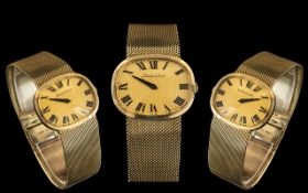 Bueche Girod - Superb Quality 9ct Gold - 1970's Wrist Watch with Wonderful Quality Integral Mesh