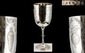Victorian Period Excellent Quality Sterling Silver Goblet / Chalice of Pleasing Proportions.