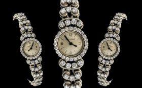 Jaeger-Le-Coultre Stunning Quality Ladies Platinum / Diamond Set Wrist Watch, Manual Wind,