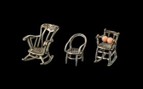 Antique Silver Novelty Furniture Miniatures,