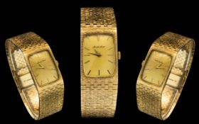 Bueche Girod - Superb Quality 1970's 9ct Gold Wrist Watch with Wonderful Integral Mesh Bracelet and