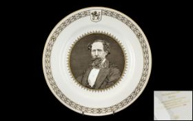 Spode Charles Dickens Centenary Plate in bone china, 1870 -1970 Limited edition of 5000, No. 4246.