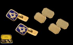 Gents 9ct Gold Pair of Boxed Masonic Cufflinks with Enamel and Gold Tops, Each Depicting a Masonic