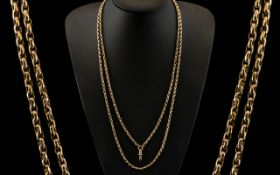 Victorian Period 1837 - 1900 Superb Quality 9ct Gold Long Muff Chain, Stamped for 9ct Gold.