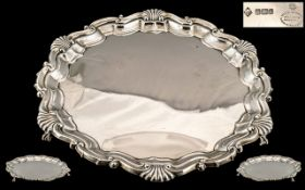 Mappin Brothers Wonderful Quality Sterling Silver Circular Footed Tray with Shell Motif Borders and